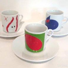 Vintage: JOAN MIRÓ JUEGO 3 TAZAS DE CAFÉ CON SUS PLATITOS · PORCELANA OBRA ORIGINAL SELLO SUCCESSIÓ MIRÓ 1998. Lote 252774255