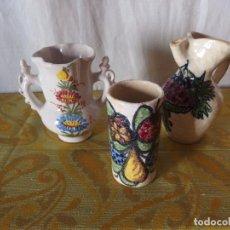 Vintage: 2 JARRAS Y JARRÓN CERÁMICA ESMALTADA. Lote 217840772
