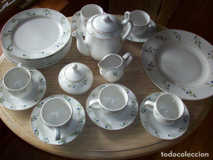 JUEGO DE MERIENDA PINTADO A MANO - SEIS SERVICIOS - 22 PIEZAS (Vintage - Decoración - Porcelanas y Cerámicas)