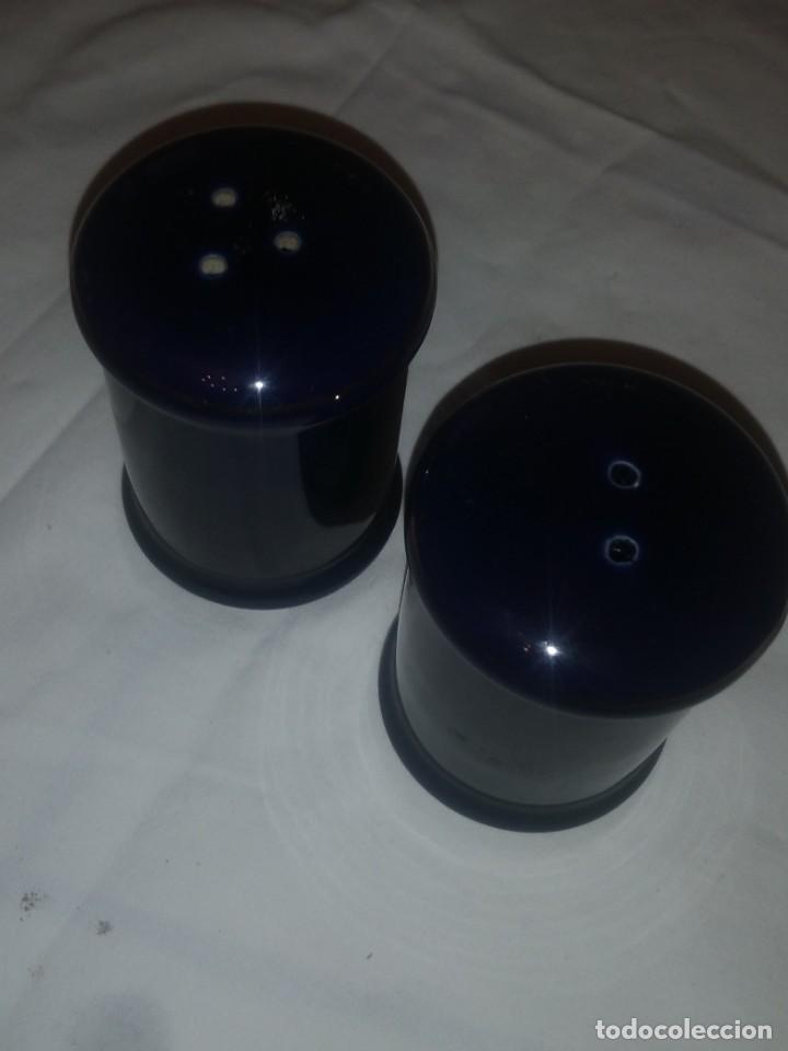 Vintage: salero y pimentero de porcelana azul cobalto,the emerald forest collection premier housewares,93/94 - Foto 4 - 218858008