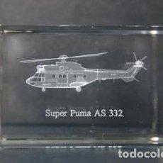 Vintage: AS-332 SUPER PUMA CRISTAL GRABADO EN 3 DIMENSIONES. Lote 218893018