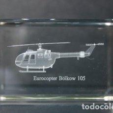 Vintage: EUROCOPTER BOLKÖW BO-105 CRISTAL GRABADO EN 3 DIMENSIONES. Lote 218893107