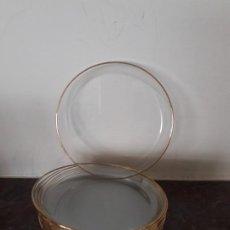 Vintage: DOCE PLATOS PARA EL PAN. CRISTAL Y FILO DE ORO. Lote 218901078
