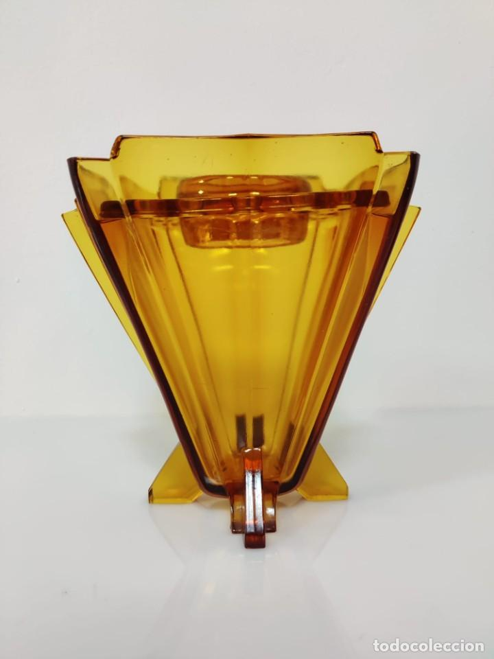 Vintage: Jarrón florero Art Deco en cristal ámbar, 1930s - Foto 2 - 221704291
