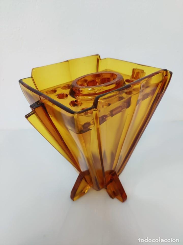 Vintage: Jarrón florero Art Deco en cristal ámbar, 1930s - Foto 4 - 221704291