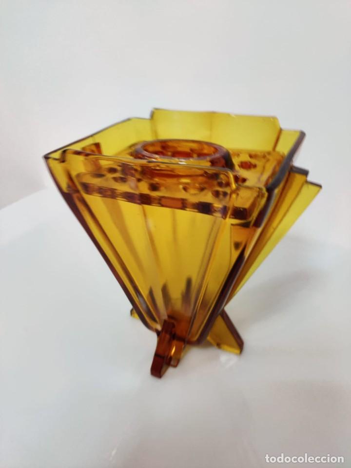 Vintage: Jarrón florero Art Deco en cristal ámbar, 1930s - Foto 5 - 221704291