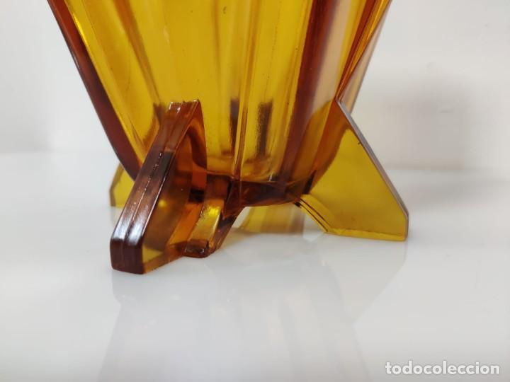 Vintage: Jarrón florero Art Deco en cristal ámbar, 1930s - Foto 6 - 221704291