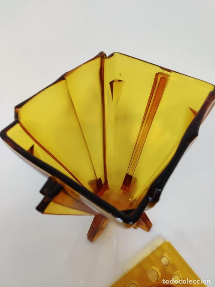Vintage: Jarrón florero Art Deco en cristal ámbar, 1930s - Foto 7 - 221704291