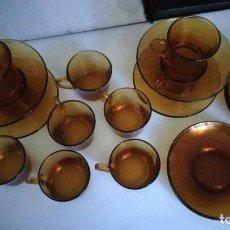 Vintage: JUEGO CAFE DURALEX ÁMBAR. 10 POCILLOS, 10 PLATILLOS. Lote 221947036