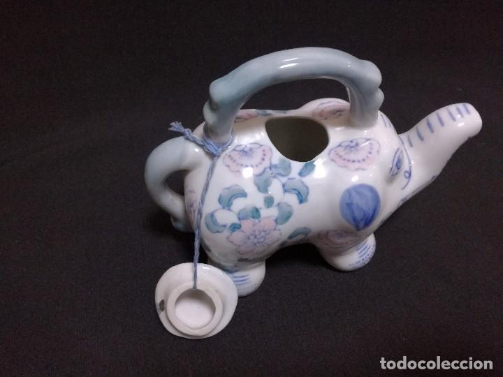Vintage: TETERA CHINA DE CERAMICA - MOTIVO ELEFANTE - PINTADA A MANO - Foto 7 - 222094157