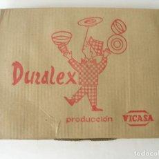 Vintage: CAJA CON DOCE TAZAS DE CAFÉ DURALEX TRANSPARENTE VICASA SPAIN AÑOS 60. Lote 222097817