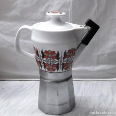 Vintage: CAFETERA ITALIANA CON JARRA DE PORCELANA -. Lote 224309546