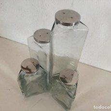 Vintage: CONJUNTO DE 4 CURIOSOS TARROS DE CRISTAL CON SECCIÓN TRIANGULAR, TAPAS DE METAL, UNOS 33 CMS. ALTO. Lote 224352142