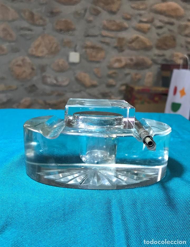 Vintage: Tintero de cristal con tapa, pieza de cristal macizo - Foto 2 - 226135920
