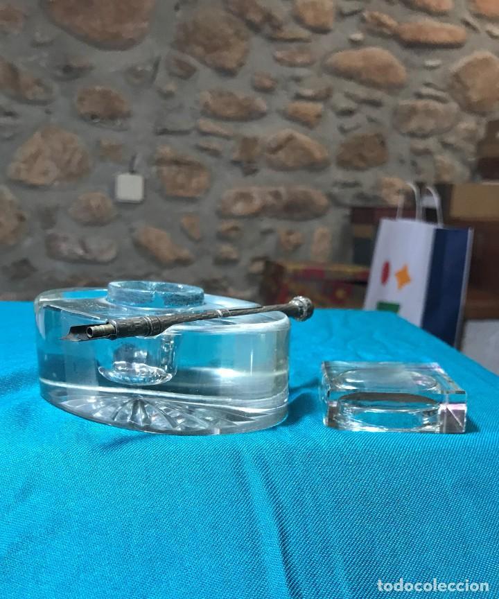 Vintage: Tintero de cristal con tapa, pieza de cristal macizo - Foto 3 - 226135920