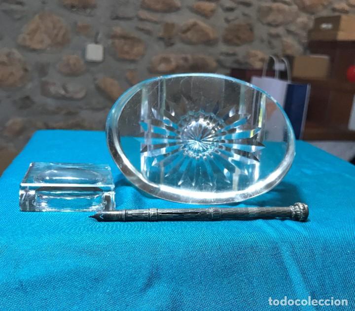 Vintage: Tintero de cristal con tapa, pieza de cristal macizo - Foto 4 - 226135920