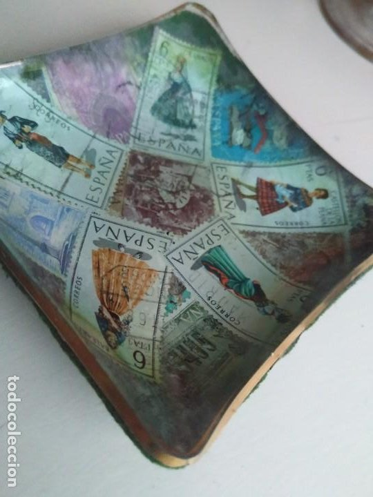 Vintage: Bonito cenicero en vidrio con sellos de España. 9,7 x 9,7 cm - Foto 5 - 237171120