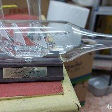 Vintage: BOTELLA DE CRISTAL CON BARCO SOPLADO MIDE 23X5CM. Lote 239893665