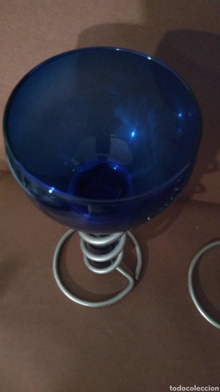 Vintage: Pareja Candelabros Cristal azul y aluminio - Foto 5 - 241123710