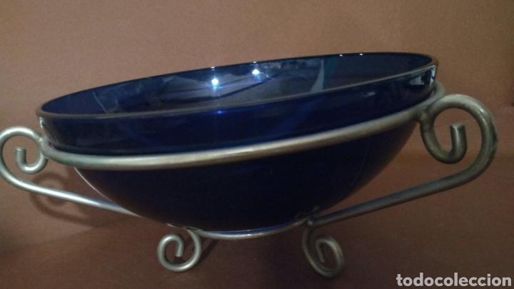 Vintage: Frutero Centro de mesa cristal azul y aluminio - Foto 4 - 241127215