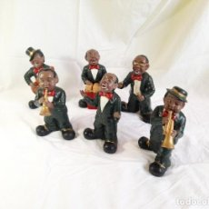 Vintage: BANDA MUSICAL PORCELANA ** 6 PIEZAS ** 20CM ** BLUES / JAZZ / CUBA ** PERFECTO ESTADO. Lote 242313210