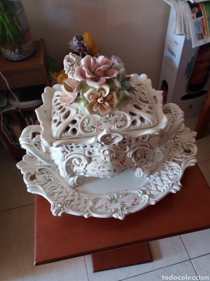SOPERA CON BANDEJA DECORATIVO (Vintage - Decoración - Porcelanas y Cerámicas)