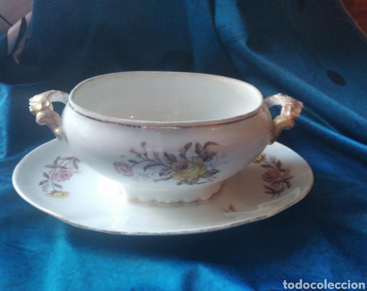 SALSERA PORCELANA FLORES (Vintage - Decoración - Porcelanas y Cerámicas)