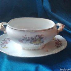 Vintage: SALSERA PORCELANA FLORES. Lote 247953060