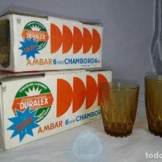 Vintage: DOS CAJAS VINTAGE ORIGINALES CON VASOS DURALEX COLOR AMBAR SIN USO. Lote 247966430