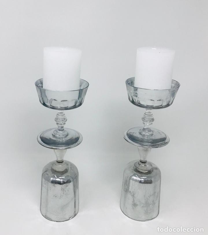 PAREJA DE CANDELABROS CRISTAL (Vintage - Decoración - Cristal y Vidrio)