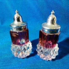 Vintage: SALERO Y PIMENTERO EN CRISTAL CLARO Y CRISTAL RUBÍ, INDIANA GLASS, ANTIGUOS Y ORIGINALES.. Lote 249583165