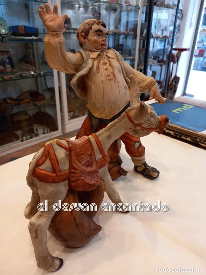 SANCHO PANZA Y EL ASNO. FIGURAS DE PORCELANA PAESA. QUIJOTE-CERVANTES.... (Vintage - Decoración - Porcelanas y Cerámicas)