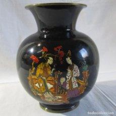 Vintage: JARRÓN CHINO DE BRONCE LACADO. Lote 253016290