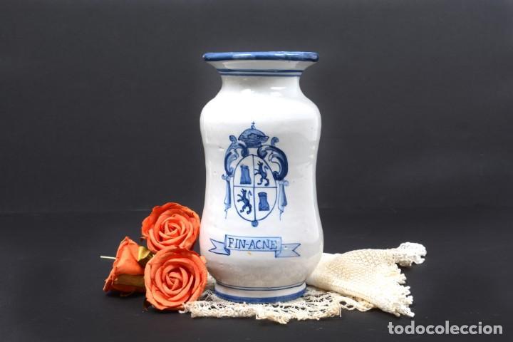 ALBARELO TARRO DE FARMACIA VINTAGE DE CERÁMICA DE TALAVERA, ESPAÑA, TARRO HERBOLARIO (Vintage - Decoración - Porcelanas y Cerámicas)