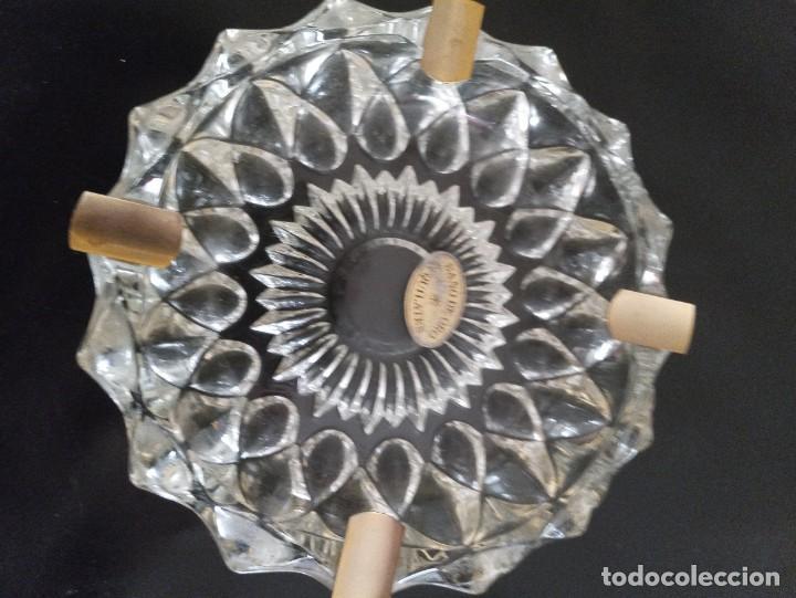 Vintage: Lote de 2 ceniceros cristal tallado. Uno con baño de oro 24 kilates. - Foto 3 - 260516770