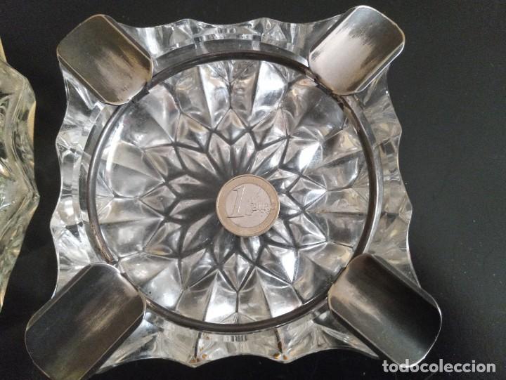 Vintage: Lote de 2 ceniceros cristal tallado. Uno con baño de oro 24 kilates. - Foto 8 - 260516770