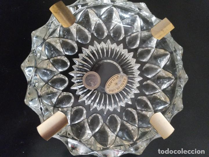 Vintage: Lote de 2 ceniceros cristal tallado. Uno con baño de oro 24 kilates. - Foto 9 - 260516770