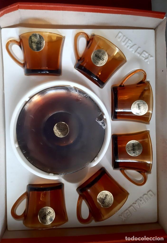JUEGO CAFE - 6 TAZAS CON PLATOS DE DURALEX - AÑOS 70 CAJA PRECINTADA (Vintage - Decoración - Cristal y Vidrio)