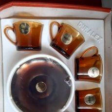 Vintage: JUEGO CAFE - 6 TAZAS CON PLATOS DE DURALEX - AÑOS 70 CAJA PRECINTADA. Lote 262142360