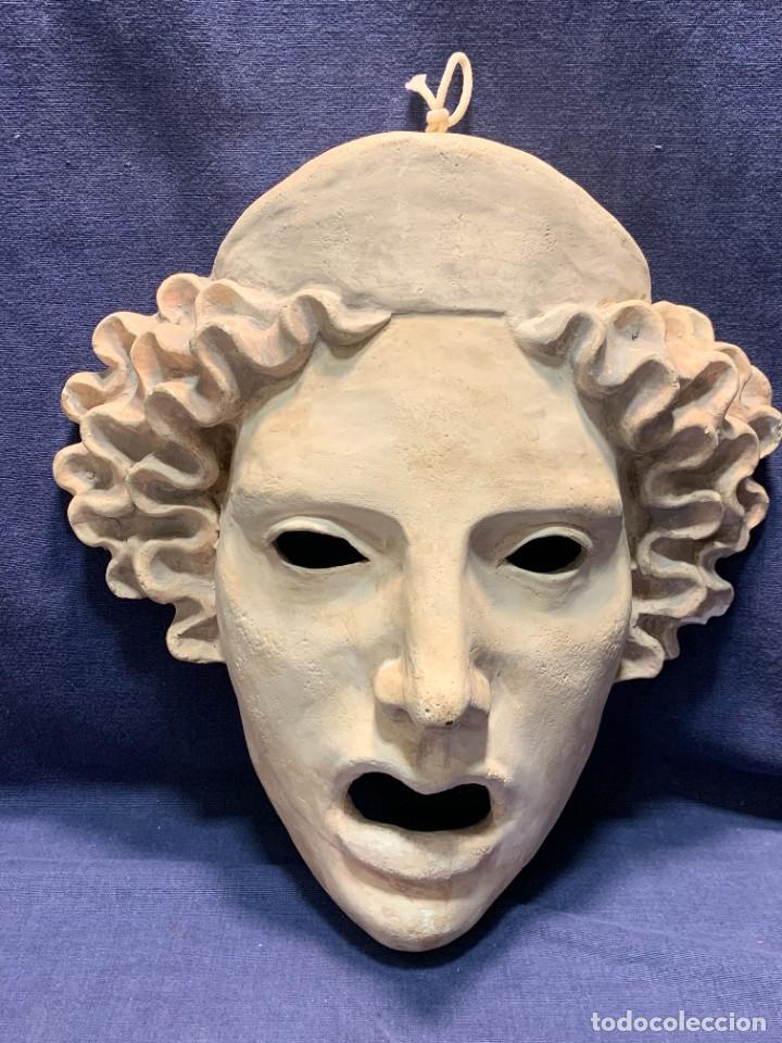 MASCARA TEATRO CLASICO CERAMICA TRAGEDIA DECORATIVA AÑOS 80 28X26CMS (Vintage - Decoración - Porcelanas y Cerámicas)
