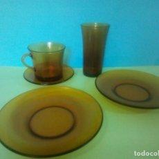 Vintage: LOTE 5 PIEZAS DURALEX AMBAR. Lote 265827394