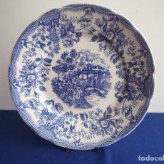 Vintage: PLATO DE CERAMICA ESMALTADA ESCENA CORTESANA ROMANTICA AZUL – GRABADO SELLO CORONA NUMERADO. Lote 267092739