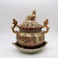 Vintage: VASIJA QUEMADOR INCENSARIO Y BANDEJA CERAMICA PORCELANA CHINA SATSUMA STYLE. Lote 267898449