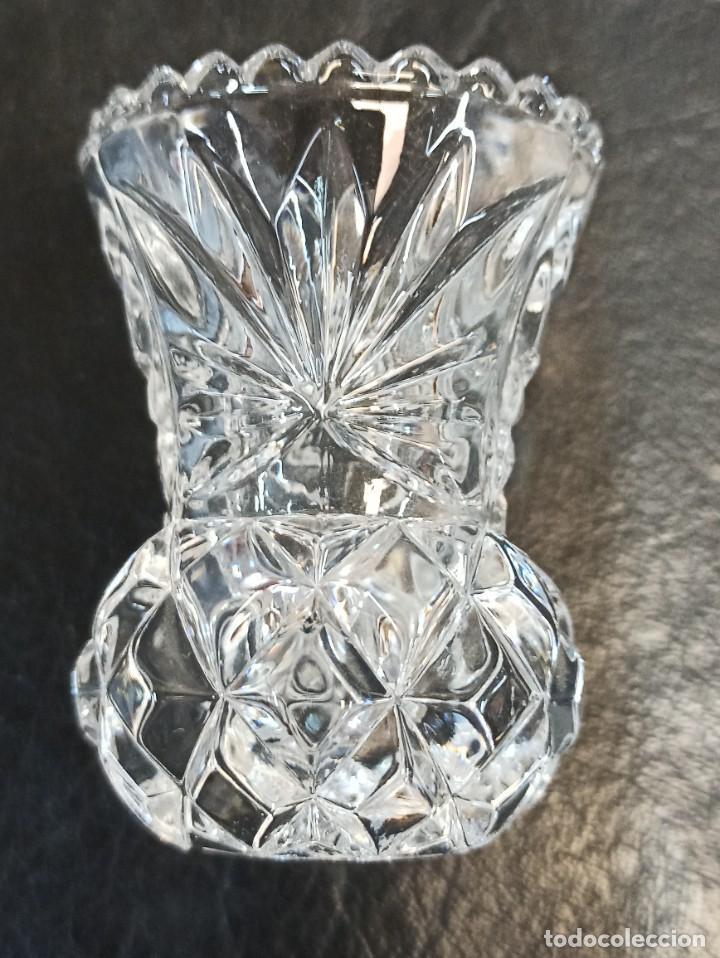 Vintage: Elegante portavelas de cristal tallado. C60 - Foto 5 - 268596994