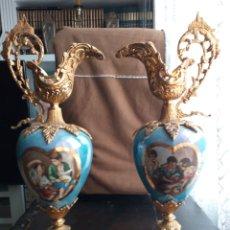Vintage: ANTIGUOS JARRONES PORCELANA Y BRONCE. Lote 269452093