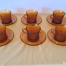 Vintage: LOTE DE 6 TAZAS Y 6 PLATOS MARCA DURALEX COLOR AMBAR. Lote 270873728