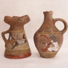 Vintage: ANTIGUA PAREJA DE JARRONES DECORADOS CON MOTIVOS EGIPCIOS - CONTIENE LÍQUIDO - NUNCA ABIERTO. Lote 274684763