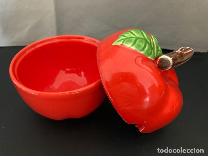 Vintage: Azucarero de loza o porcelana en forma de fruta (manzana). Años 1980 - Foto 3 - 277163663