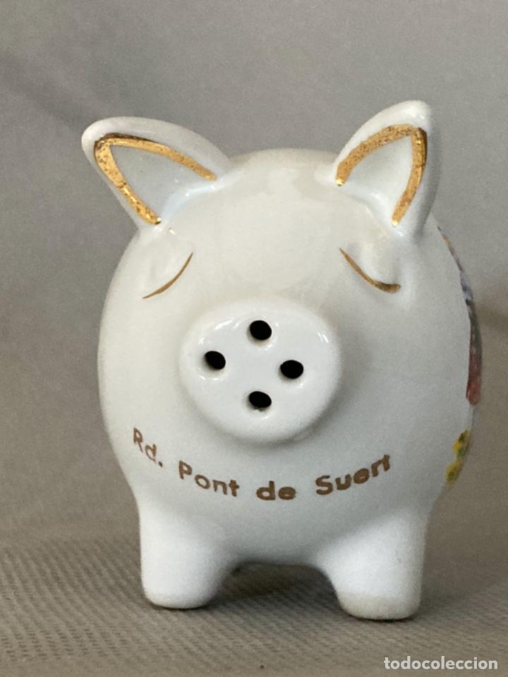 Vintage: Cerdito de porcelana decorada, salero, souvenir de Pont de Suert, años 60-70 - Foto 4 - 277169433