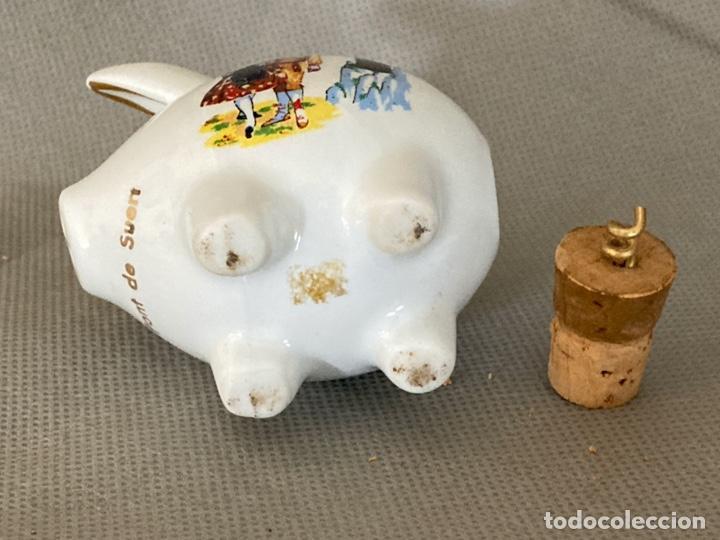 Vintage: Cerdito de porcelana decorada, salero, souvenir de Pont de Suert, años 60-70 - Foto 6 - 277169433